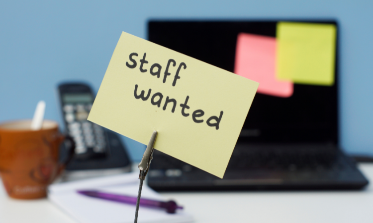 staff wanted post-it note